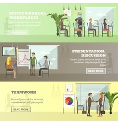 set of business presentations and meetings vector image vector image