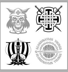 set of viking emblems labels and logos vector image vector image