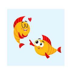 two smiling golden fish characters one showing vector image vector image