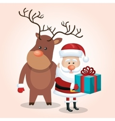 xmas card santa claus with gift and deer design vector image