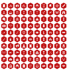 100 museum icons hexagon red vector