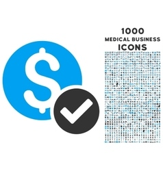 Approved payment icon with 1000 medical business vector