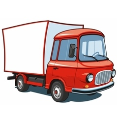 Cartoon red commercial truck vector