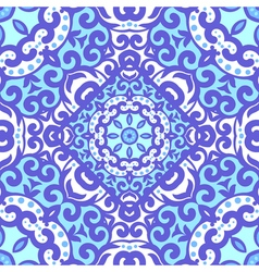 Seamless pattern with bright blue ornament tile in vector