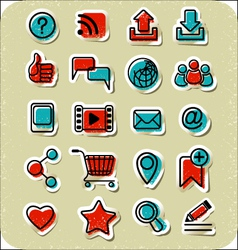 20 internet communication stickers vector
