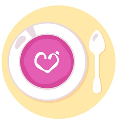 Pink love soup isolated on orange background vector