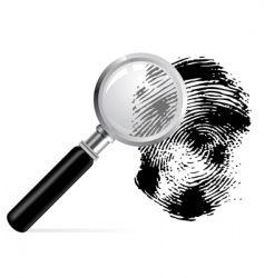 magnifier with scanned fingerprint vector image