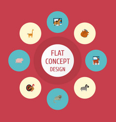 Flat icons camelopard horse moose and other vector