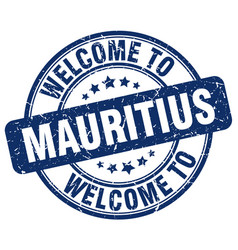 Welcome to mauritius blue round vintage stamp vector