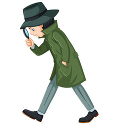 Detective in green overcoat with magnifying glass vector