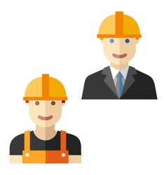 Worker construction flat avatar set vector