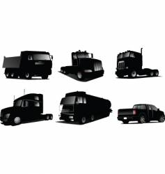 Six trucks silhouettes vector