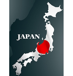 Japanese country map with national flag vector
