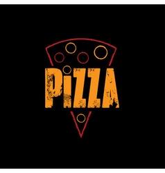 Slice of pizza on black background vector