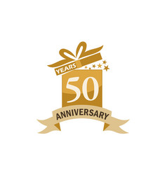 50 years gift box ribbon anniversary vector