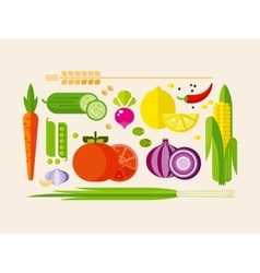 Vegetables in flat style vector