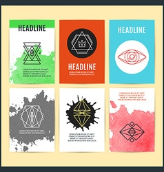 Set of creative abstract geometric hipster line vector