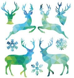 Geometric christmas deer set vector