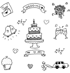 Wedding party doodle flat vector image