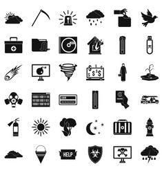 Back country icons set simple style vector