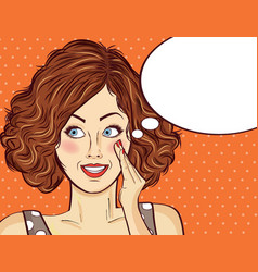 Beautiful red-haired lady gossip and smile vector