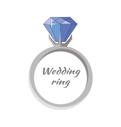 Beautiful wedding ring with blue gemstone vector