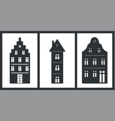 black silhouettes of building isolated on white vector image