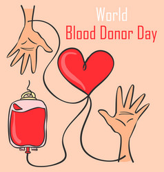 Blood donor day style collection doodles vector