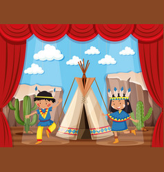 boy and girl playing native indians on stage vector image vector image