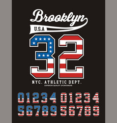 brooklyn set number texture flag united states vector image vector image