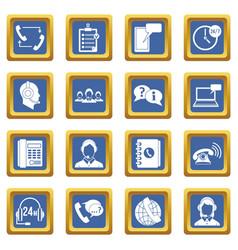 call center symbols icons set blue vector image