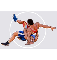 Cartoons by two men sparring wrestling vector