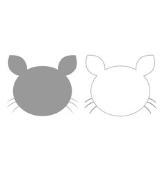Cat head grey set icon vector