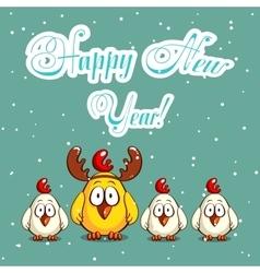Christmas White And Yellow Chicks vector image vector image