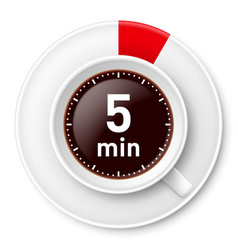 Cup of coffee with time limit for break five vector