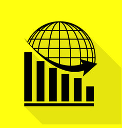 Declining graph with earth black icon with flat vector
