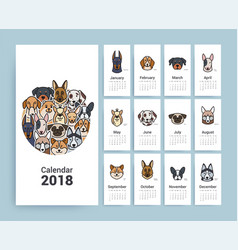 design template calendar 2018 vector image