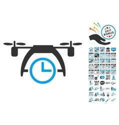 Drone clock icon with 2017 year bonus symbols vector