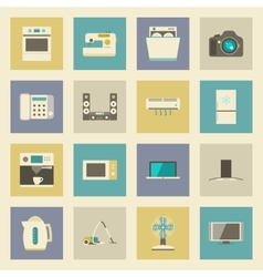 Electrical appliances flat icons set vector image vector image