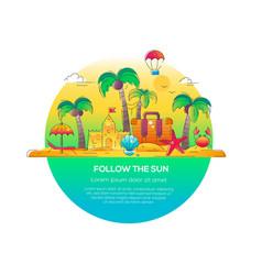 Follow the sun - line travel vector