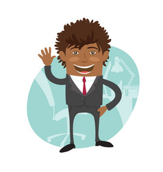Funny confident black business man wearing suit vector