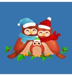 Happy family of owls mom dad and baby in a warm vector