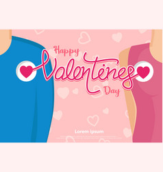 happy valentines day in love with mini heart vector image vector image