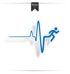 heartbeat make running man symbol stock vector image