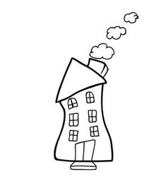 house doodle black vector image