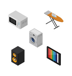 Isometric technology set of cloth iron television vector