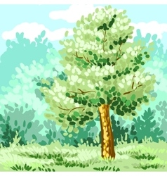 Lonely green tree Corporate identity is drawn by vector image