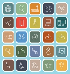 Network line flat icons on blue background vector image vector image