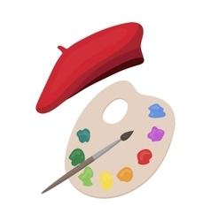 Painting palette and beret icon in cartoon style vector image