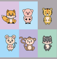 set cute and tender animals with expressions vector image vector image